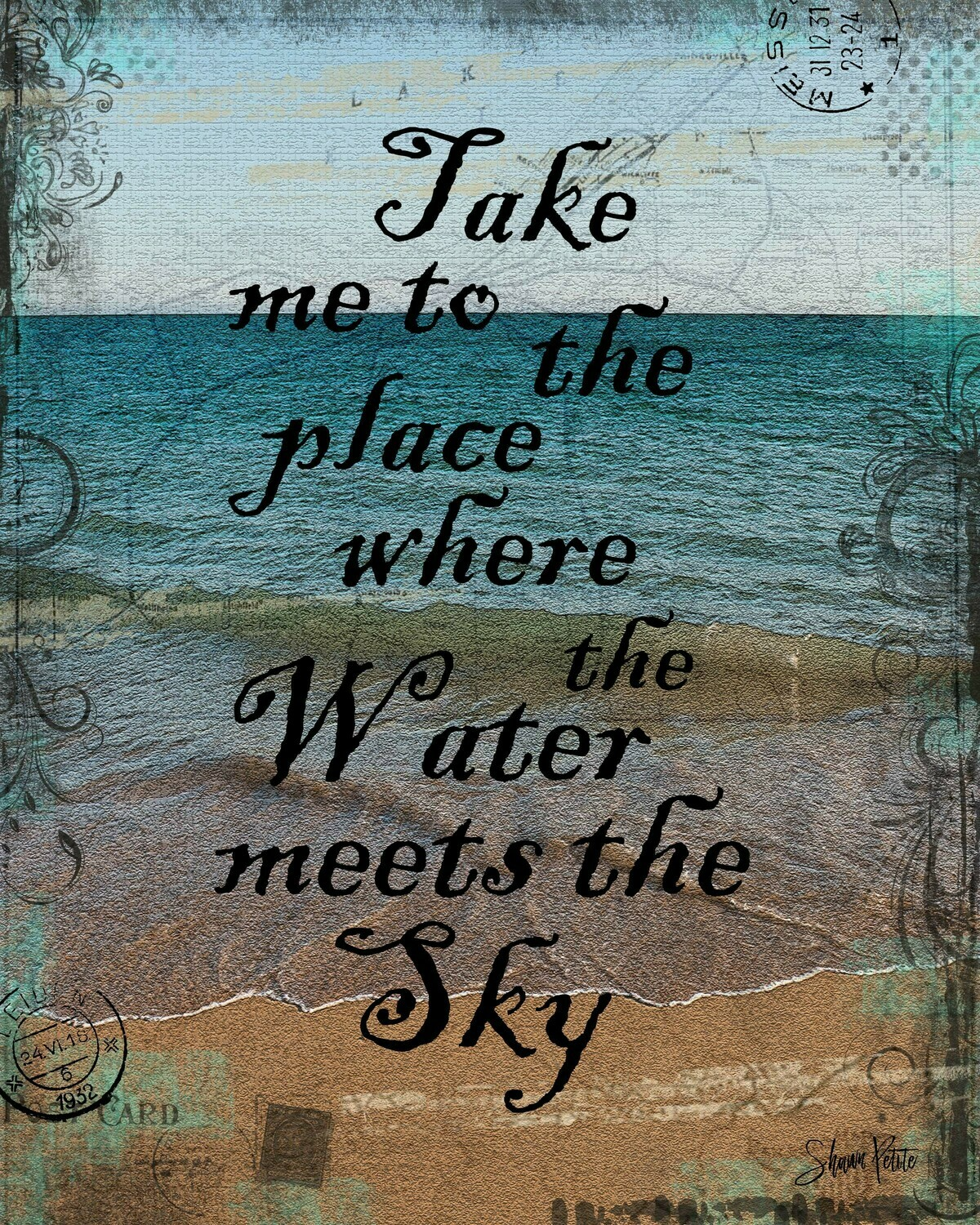 """""""Take me to the place where the water meets the sky"""" Print on Wood 5x7 Overstock"""
