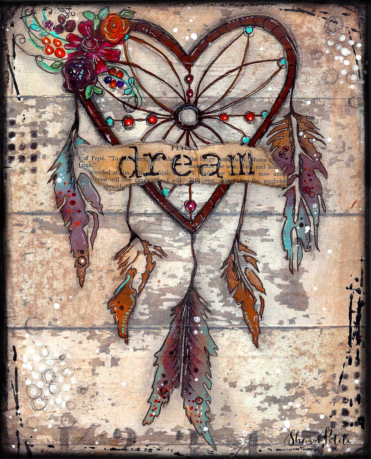 """Dream dream catcher"" Print on Wood 4x6 Overstock"