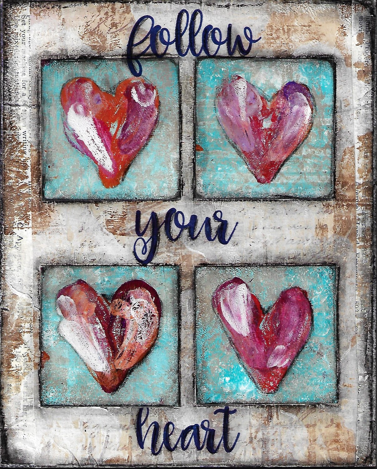 """""""Follow your heart 1"""" Print on Wood 5x7 Overstock"""
