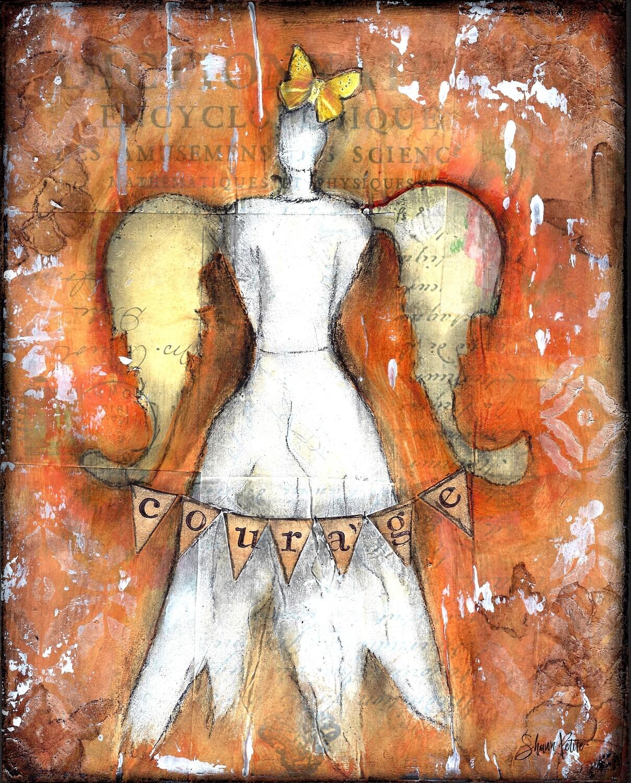 """Courage angel"" Print on Wood 4x6 Overstock"