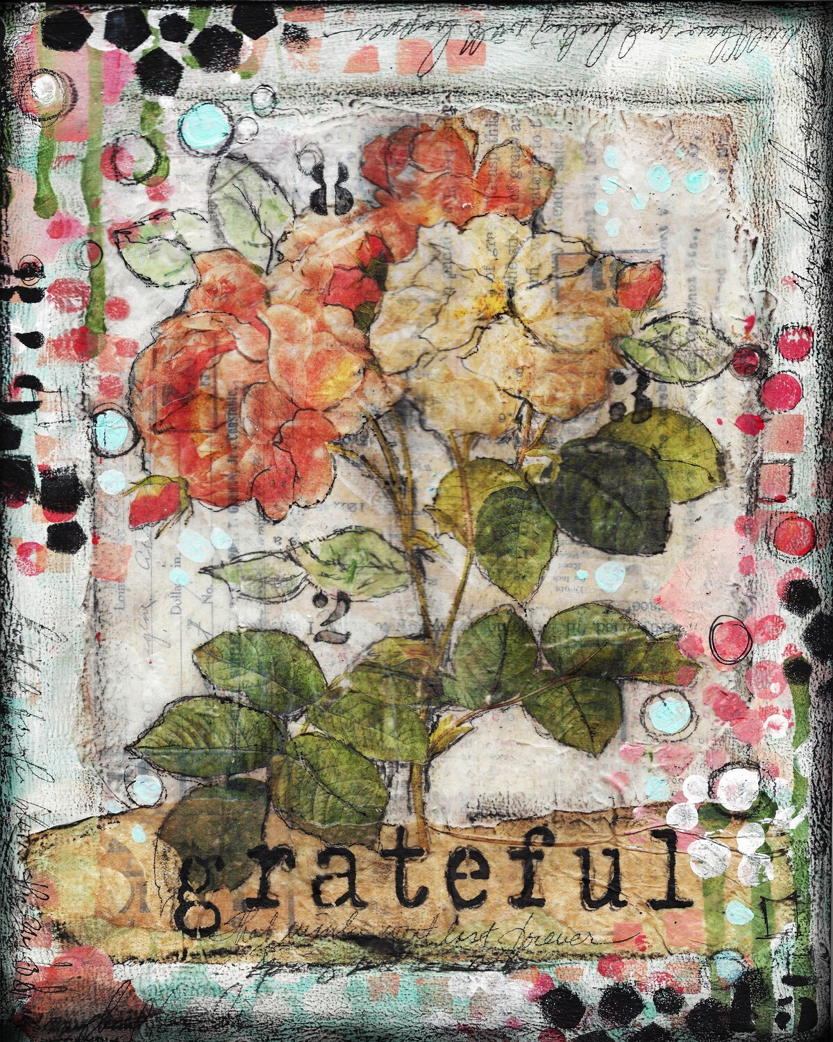 """Grateful Flower"" Print on Wood 4x6 Overstock"