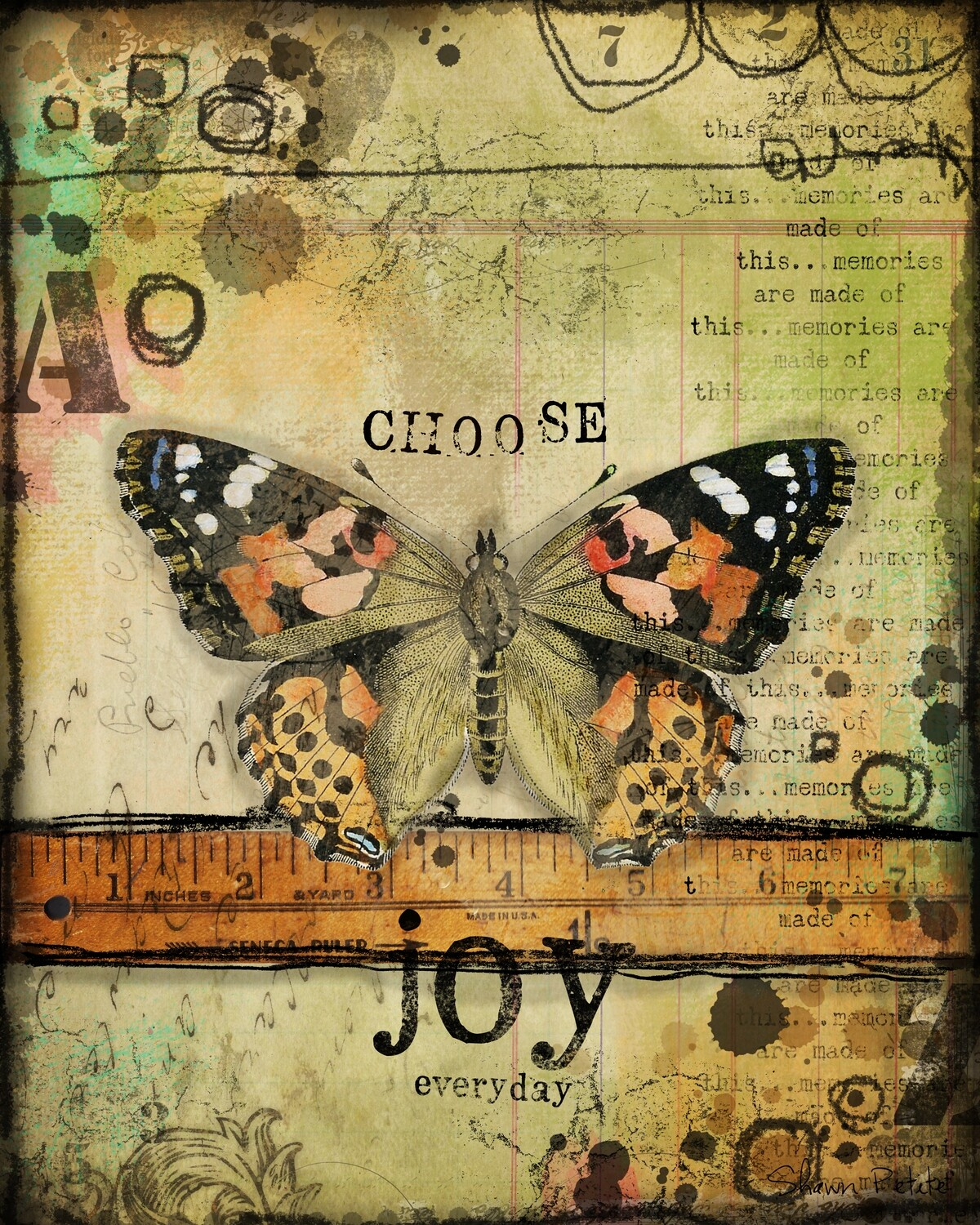 """Choose Joy Everyday"" butterfly series, Print on Wood 4x6 Overstock"