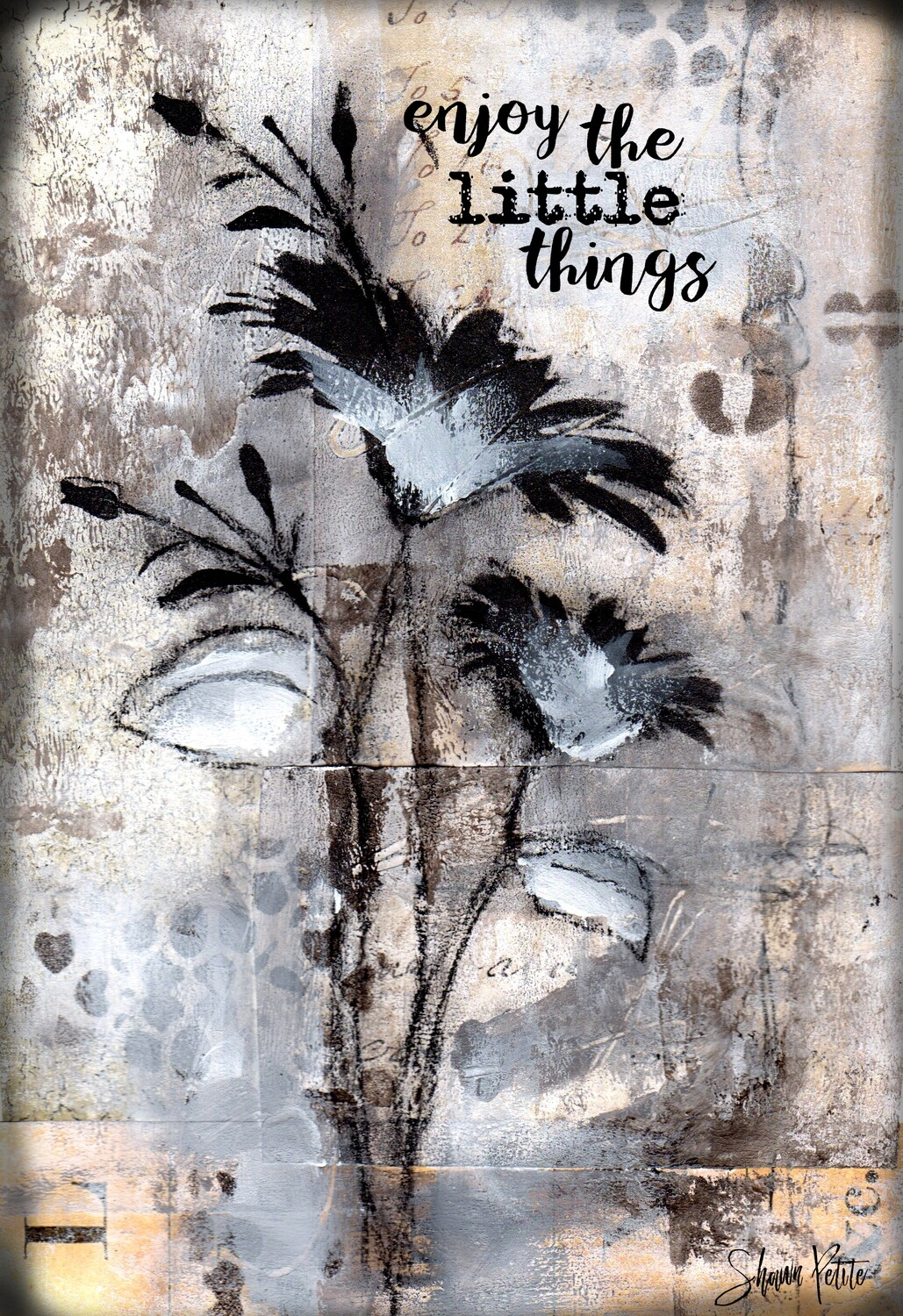 """Neutral black flower enjoy the little things"" Print on Wood 5x7 Overstock"