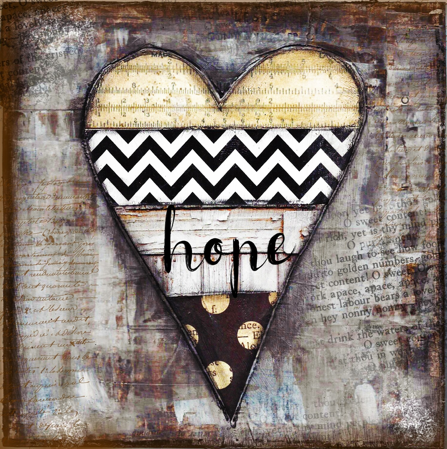 """""""Hope"""" Heart series black and white print on Wood 4x4 Overstock"""