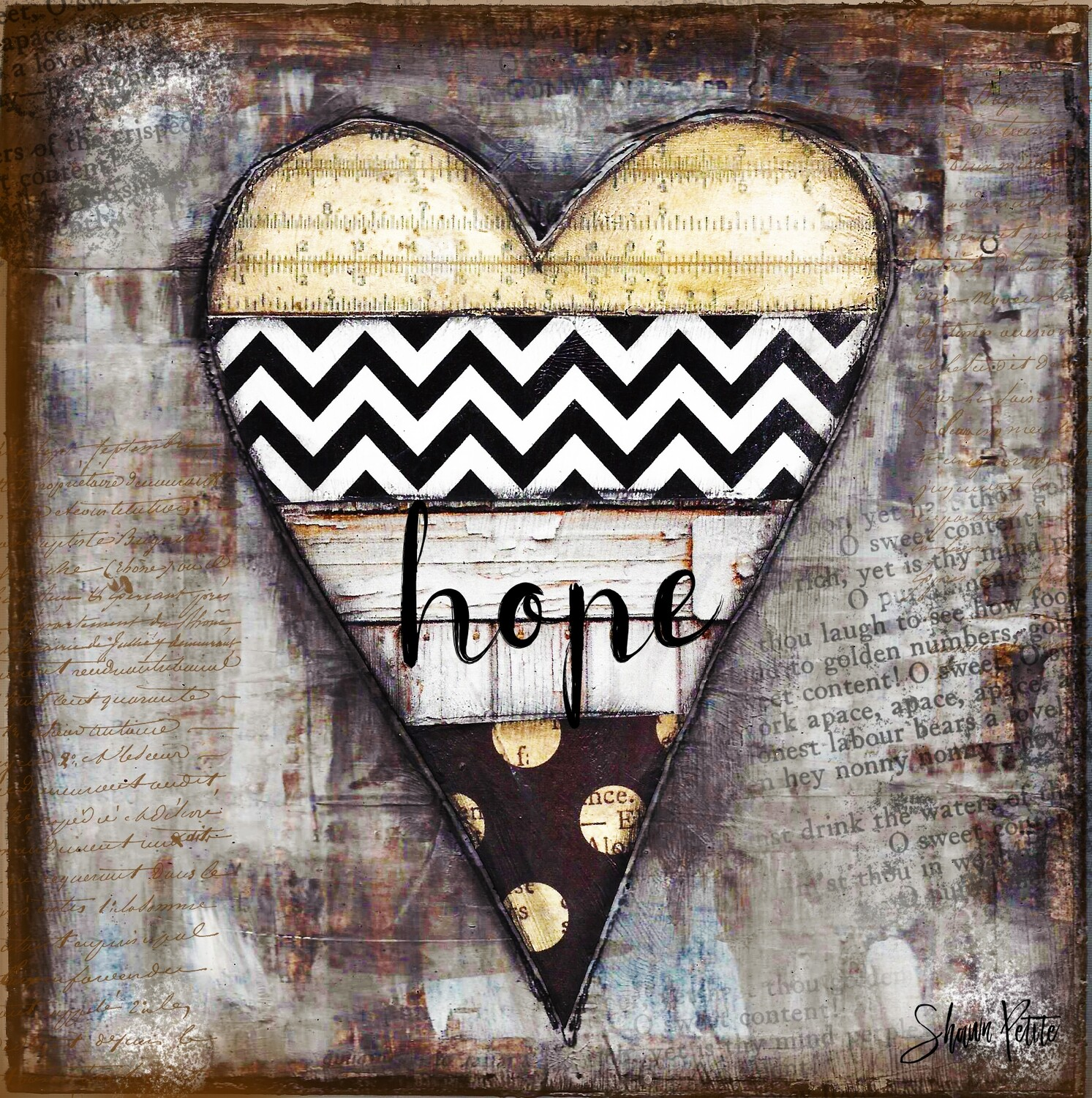 """""""Hope black and White heart"""" on Wood 6x6 Overstock"""