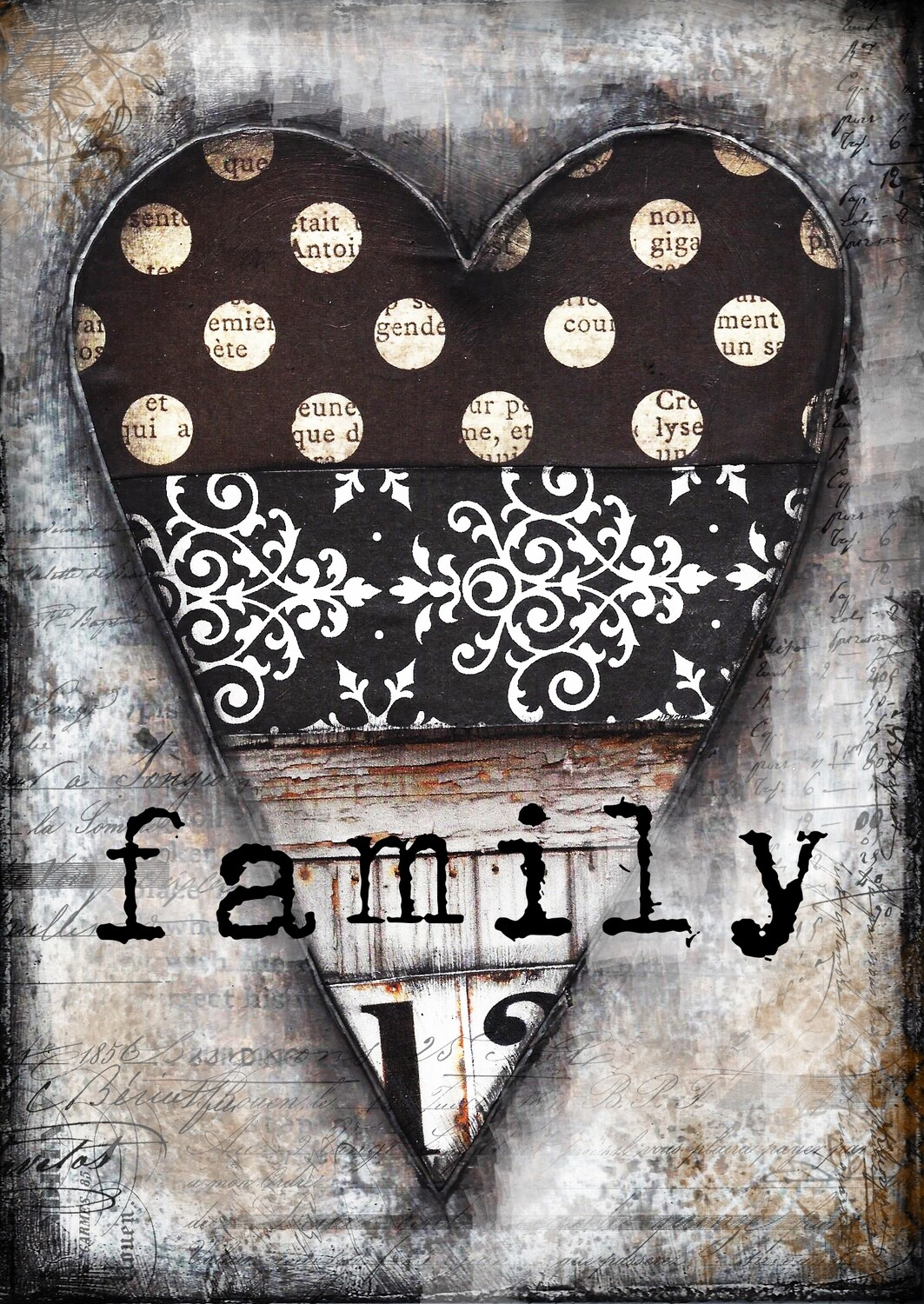 """Family"" Heart series black and white print on Wood 4x6 Overstock"
