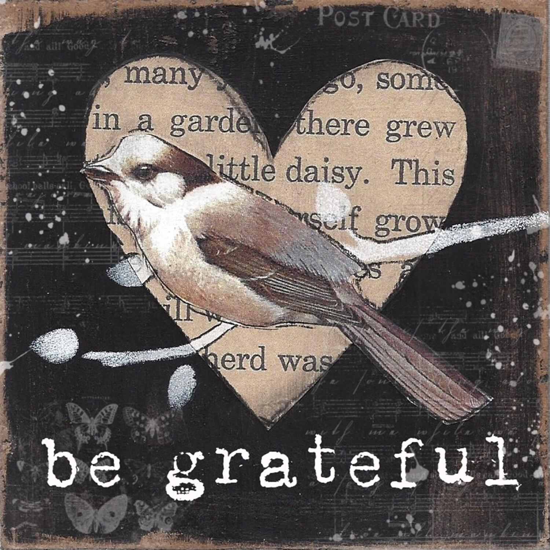 """Be grateful bird"" butterfly Print on Wood 6x6 Overstock"