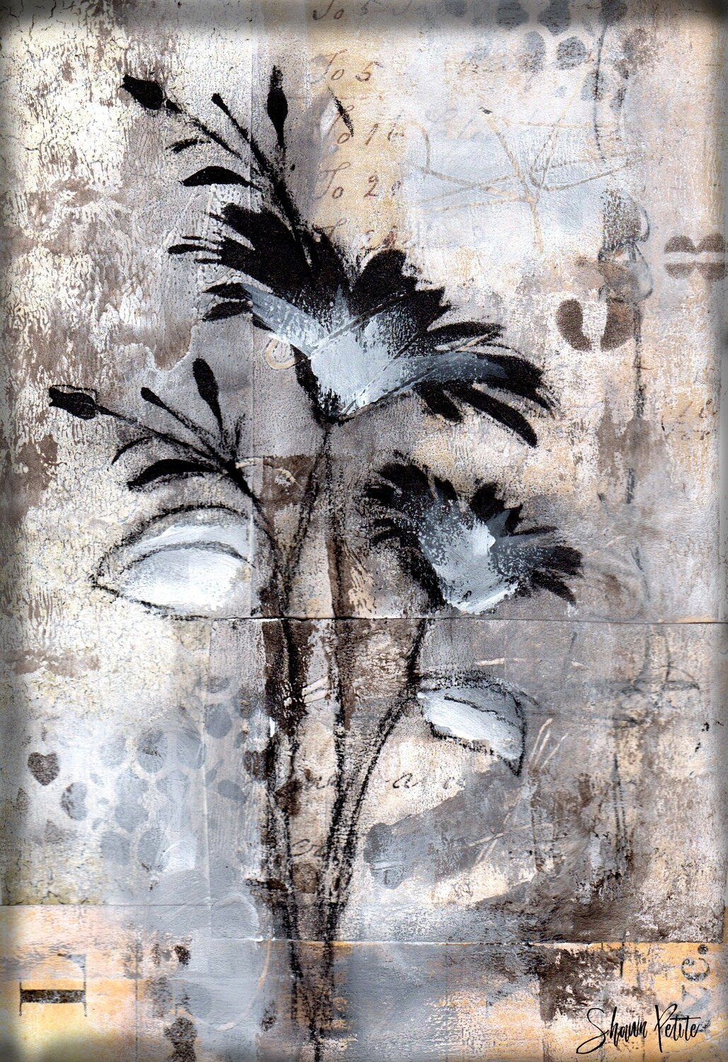 """""""Neutral flower"""" Print on Wood 5x7 Overstock"""