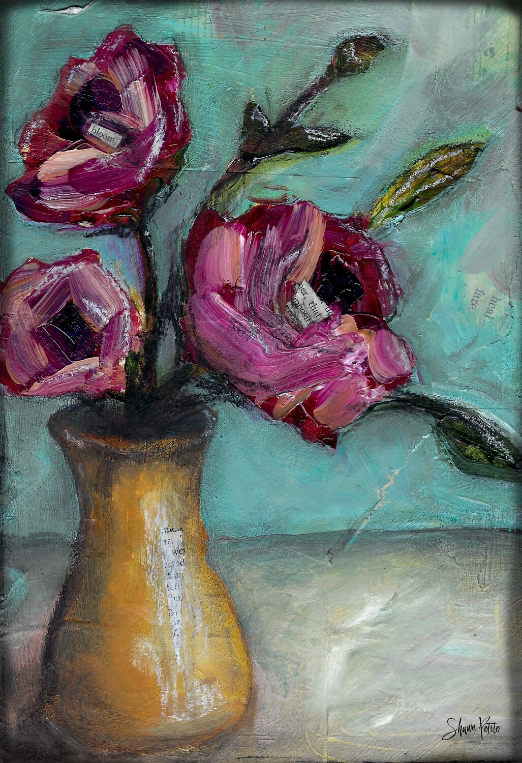 """Yellow Vase Bloom floral"" Print on Wood 4x6 Overstock"