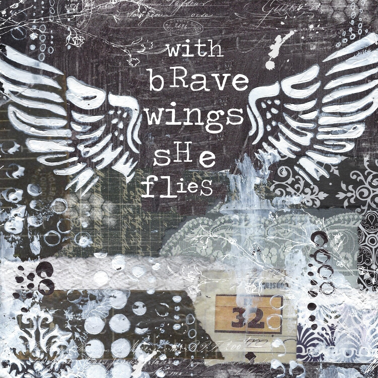 """With brave wings she flies"" butterfly Print on Wood 6x6 Overstock"