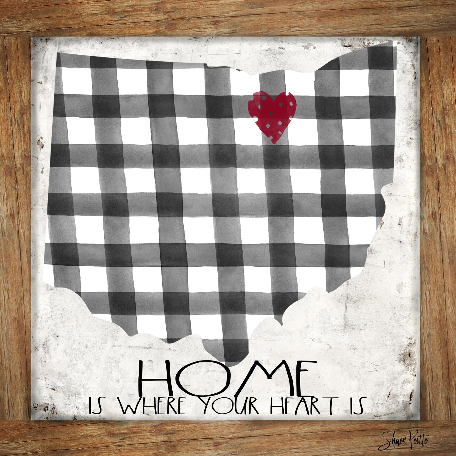 """Home black and white plaid Ohio"" floral Print on Wood 8x8 Overstock"