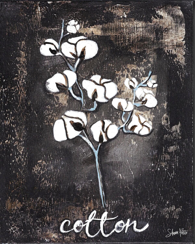 """Cotton"" Print on Wood 4x6 Overstock"