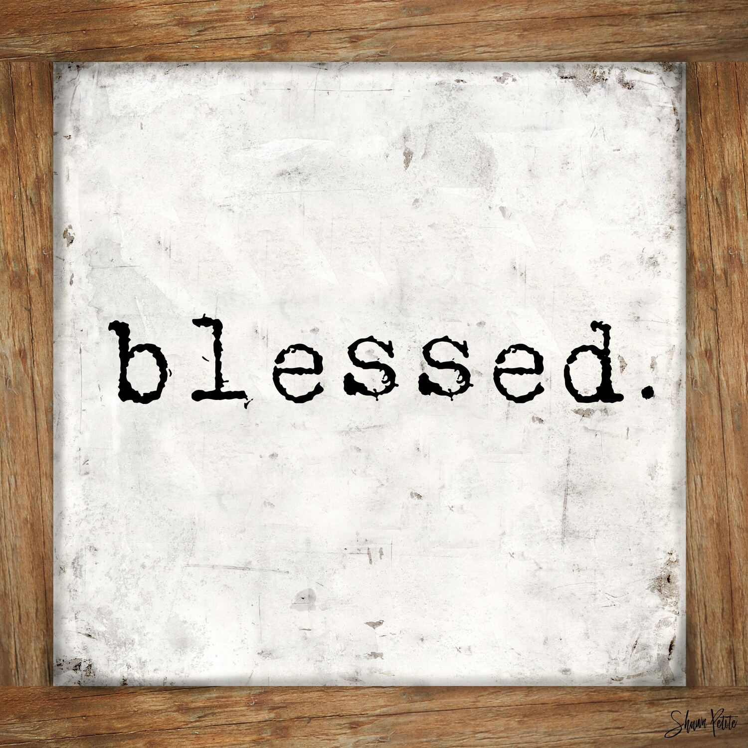 """Blessed wood frame"" floral Print on Wood 8x8 Overstock"