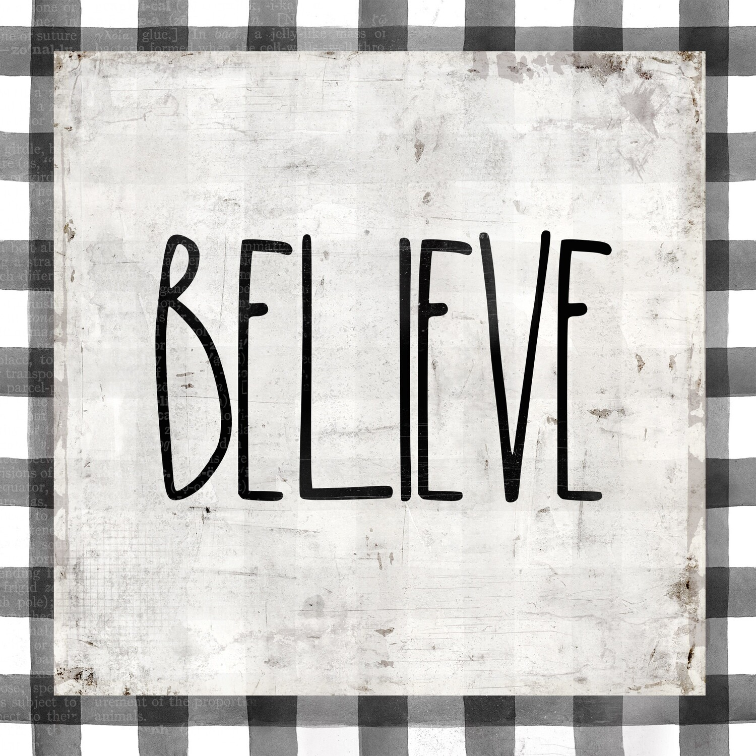 """""""Believe"""" black and white plaid print on Wood 4x4 Overstock"""