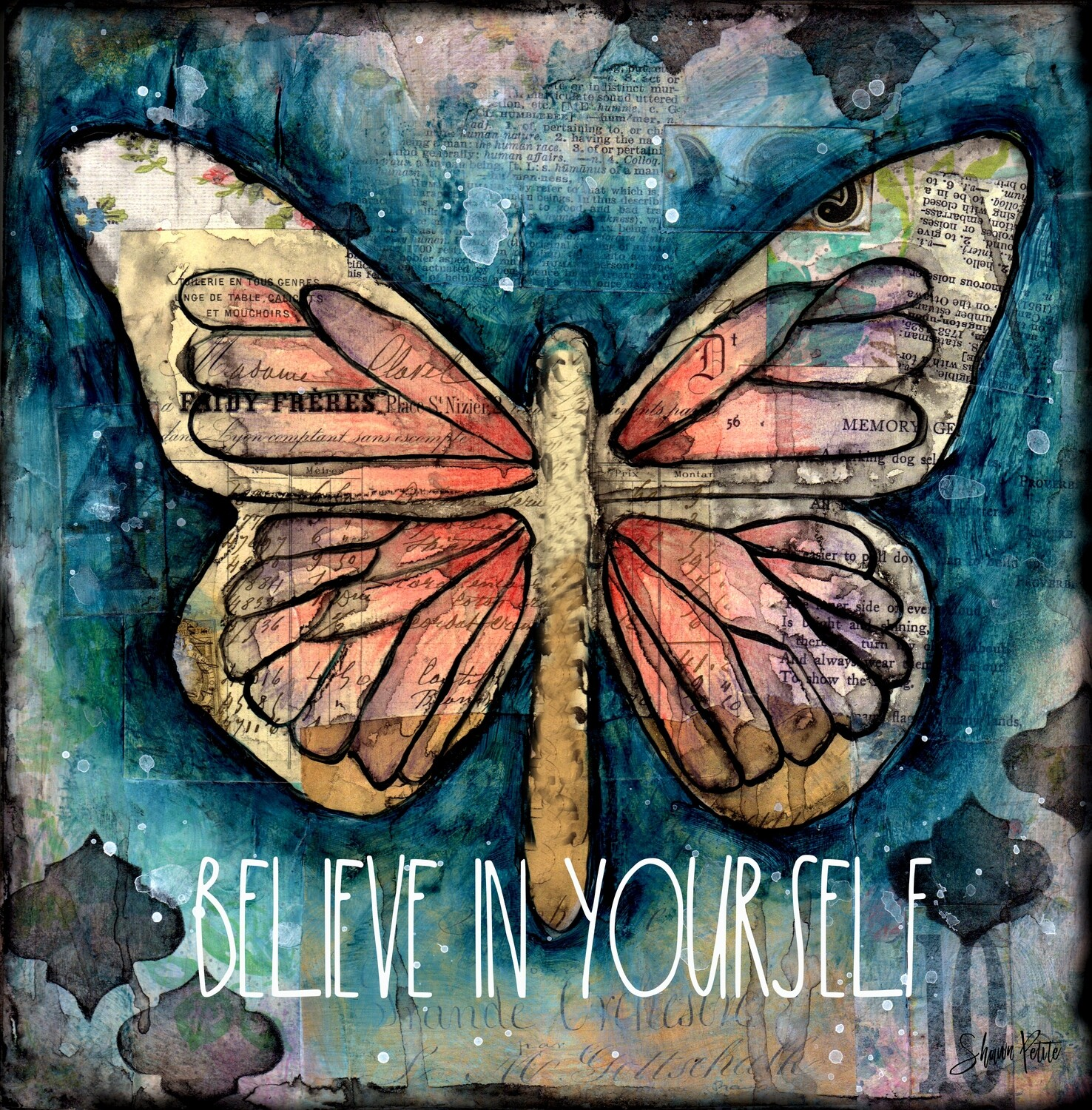 """Believe in yourself"" butterfly Print on Wood 4x4 Overstock"