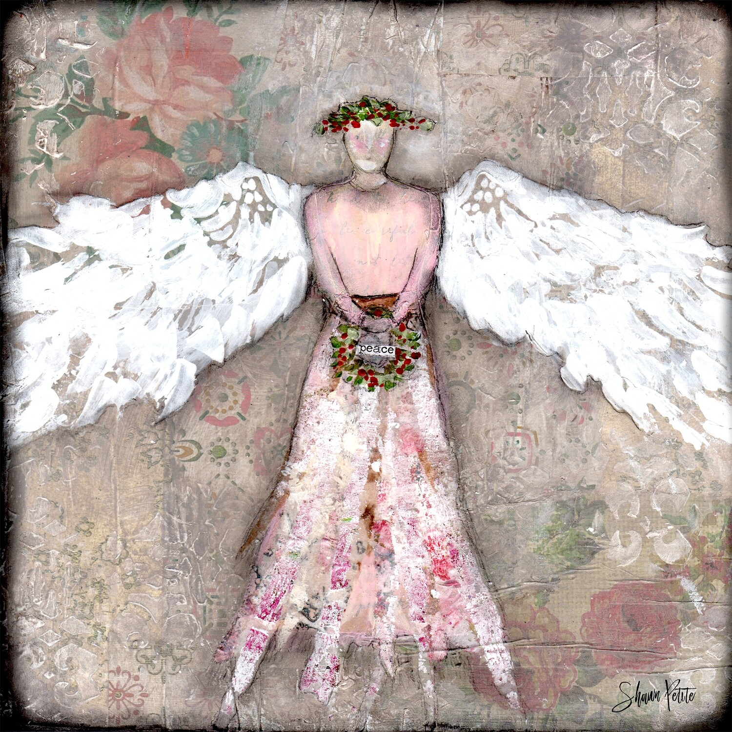 """""""Angel of Peace"""" Print on Wood 4x4 Overstock"""