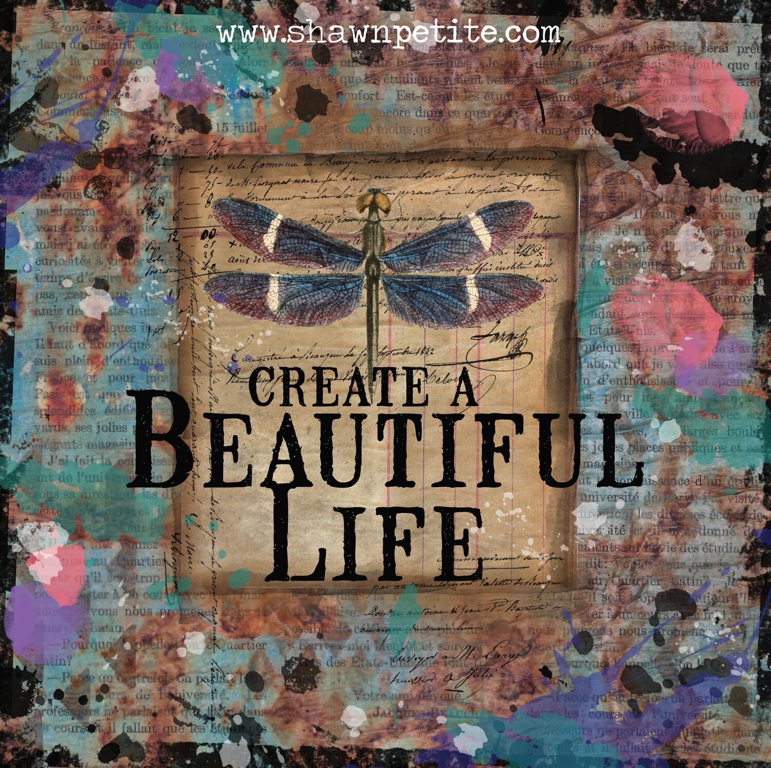 """""""Create a beautiful like"""" dragonfly Print on Wood 4x4 Overstock"""