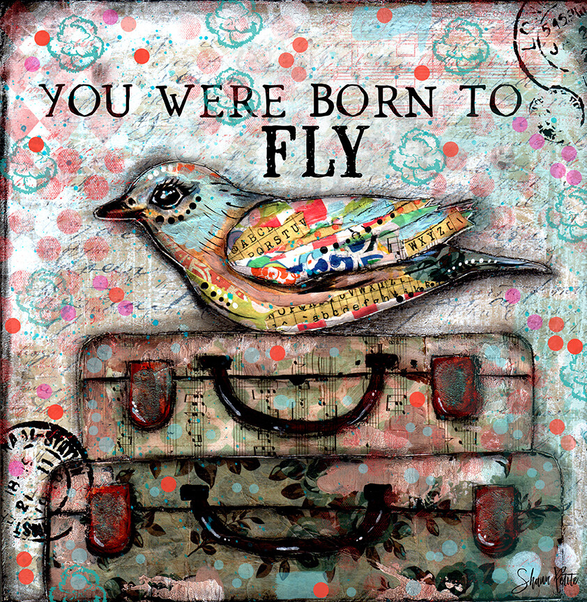"""""""You were born to fly"""" bird Print on Wood 4x4 Overstock"""