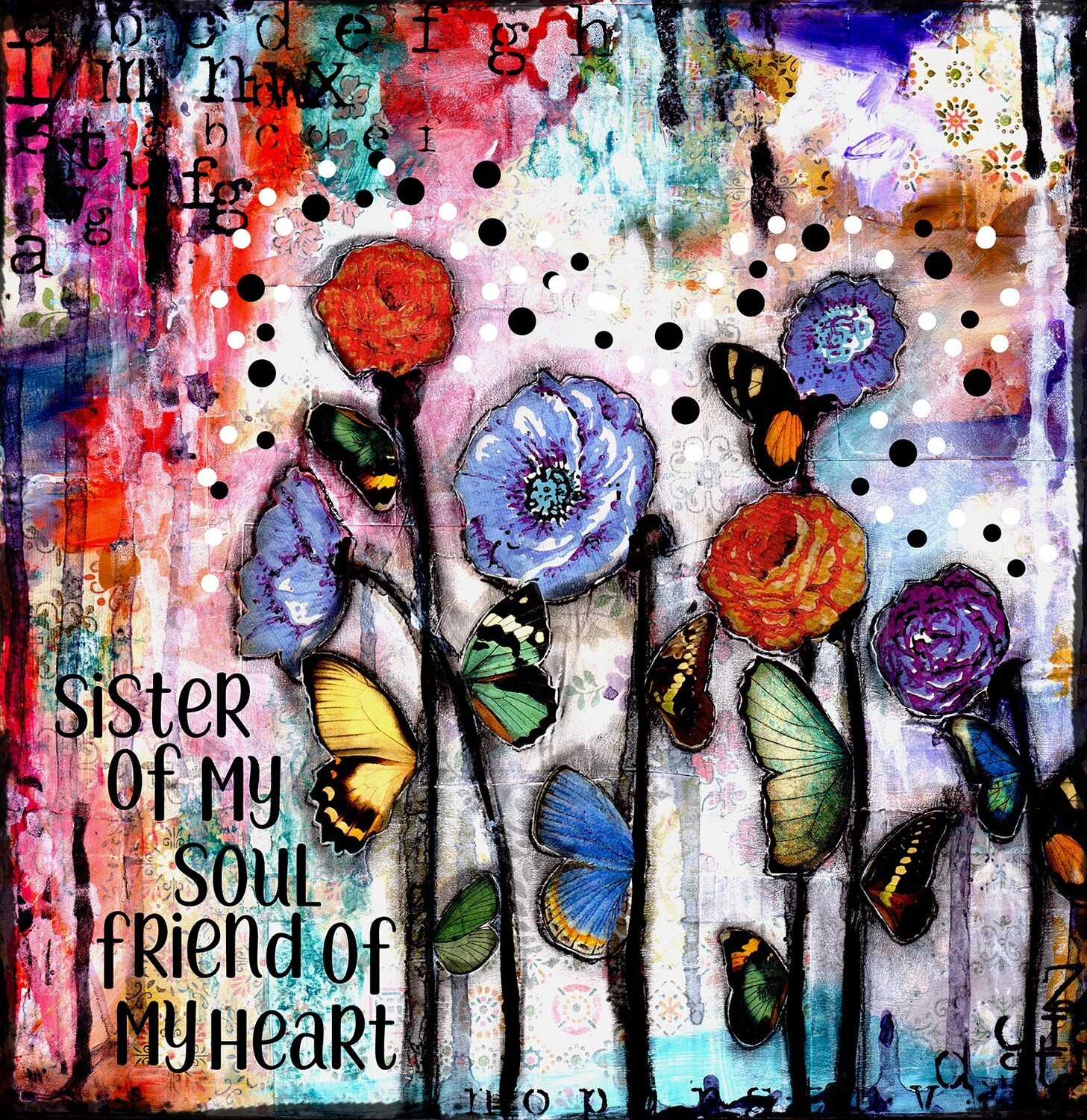 """Sister of my soul friend of my heart"" Print on Wood 4x4 Overstock"