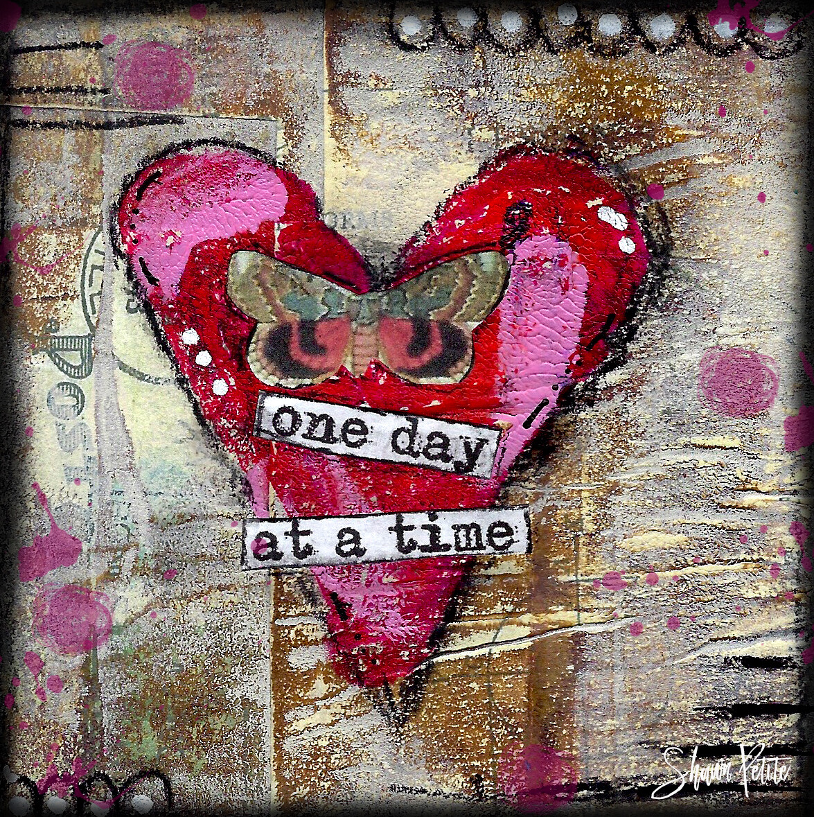 """One day at a time""  heart and butterfly Print on Wood 4x4 Overstock"