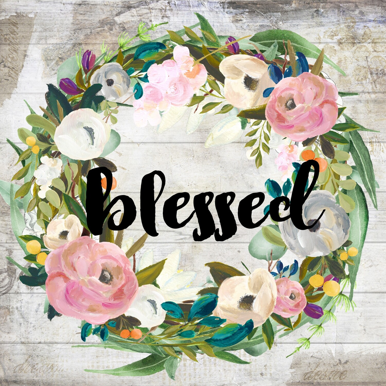 """""""Blessed"""" muted flower wreath Print on Wood 4x4 Overstock"""