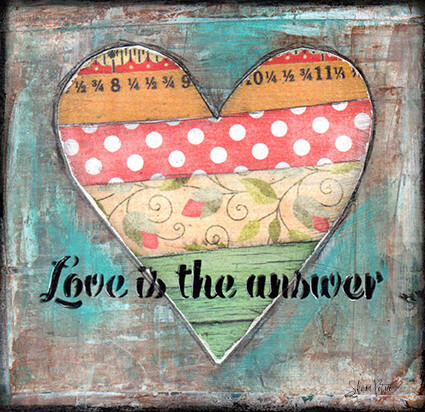 """""""Love is the answer"""" heart Print on Wood 4x4 Overstock"""