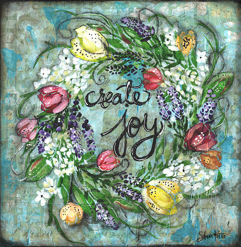 """Create joy"" wreath  Print on Wood 4x4 Overstock"