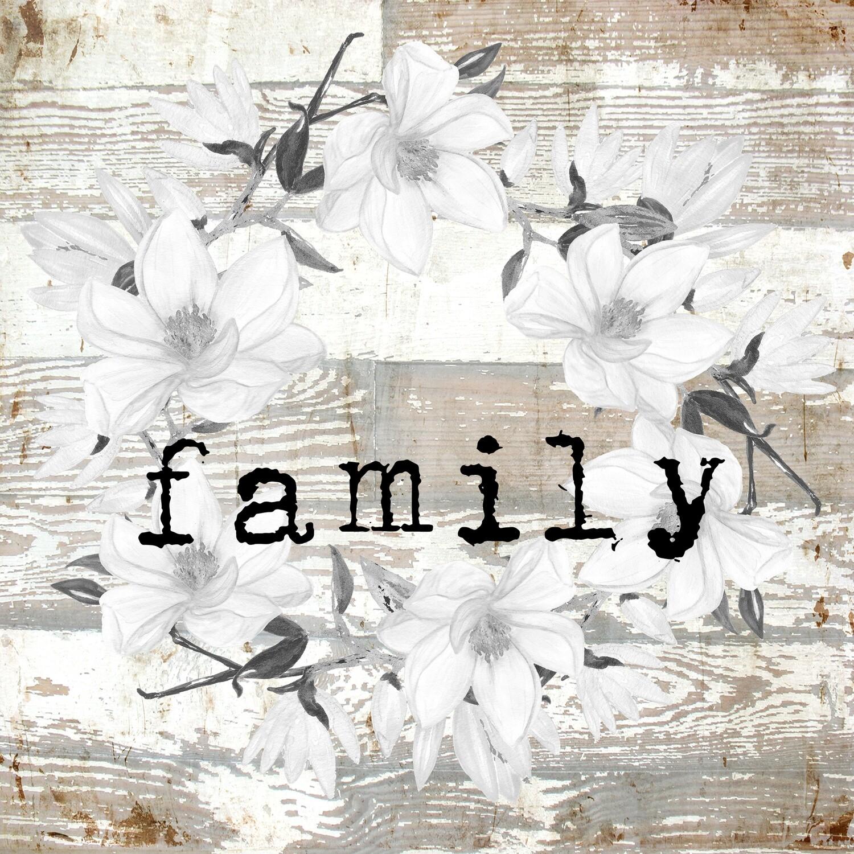 """Family"" wreath Print on Wood 4x4 Overstock"