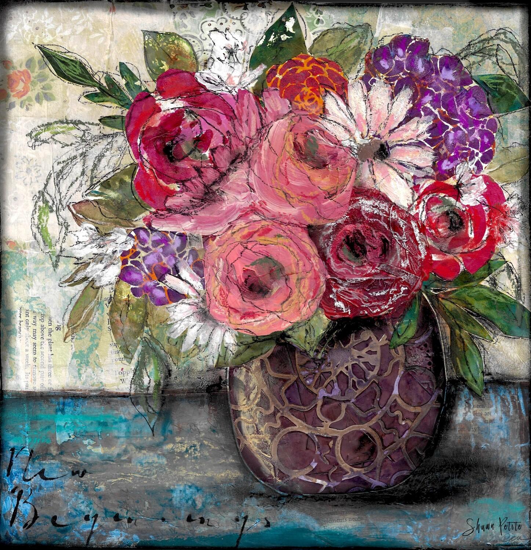 """""""New Begining"""" floral 12x12 mixed media original"""