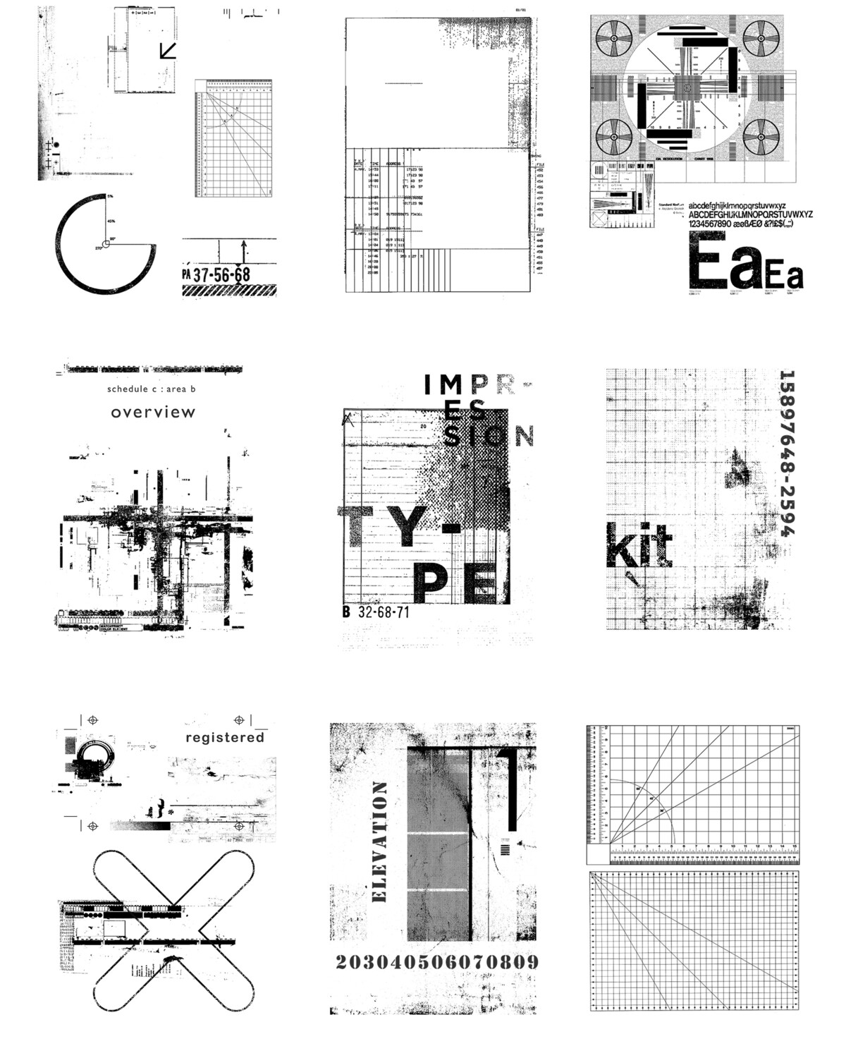Grungy Texture Plan collage pak instant download 9 pages