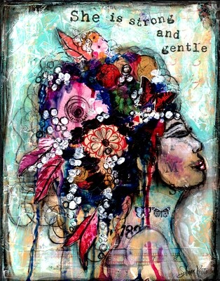 """""""She is strong and Gentle """" Print on wood or Print to be framed"""