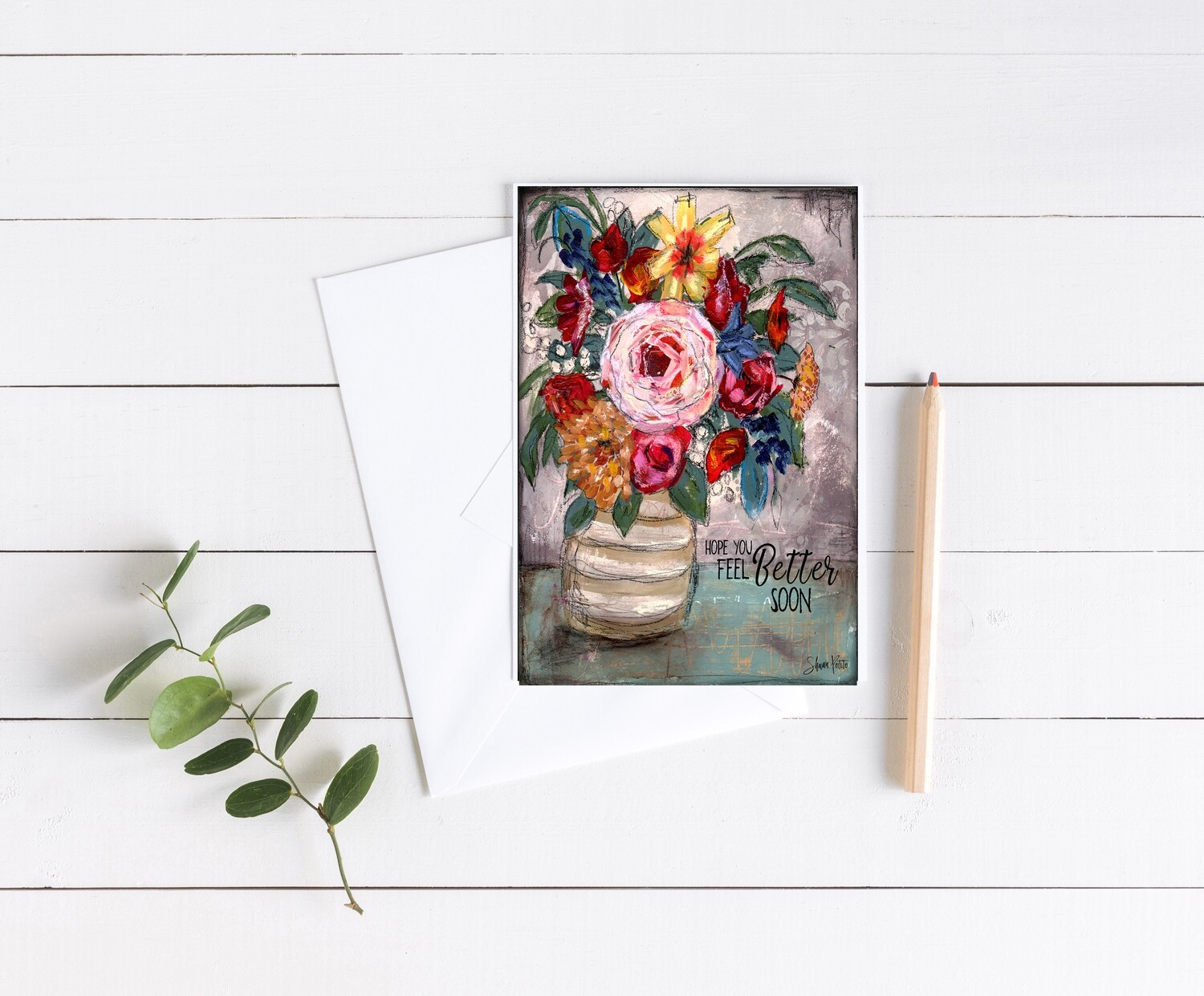 """""""Feel Better"""" floral 5x7 card"""