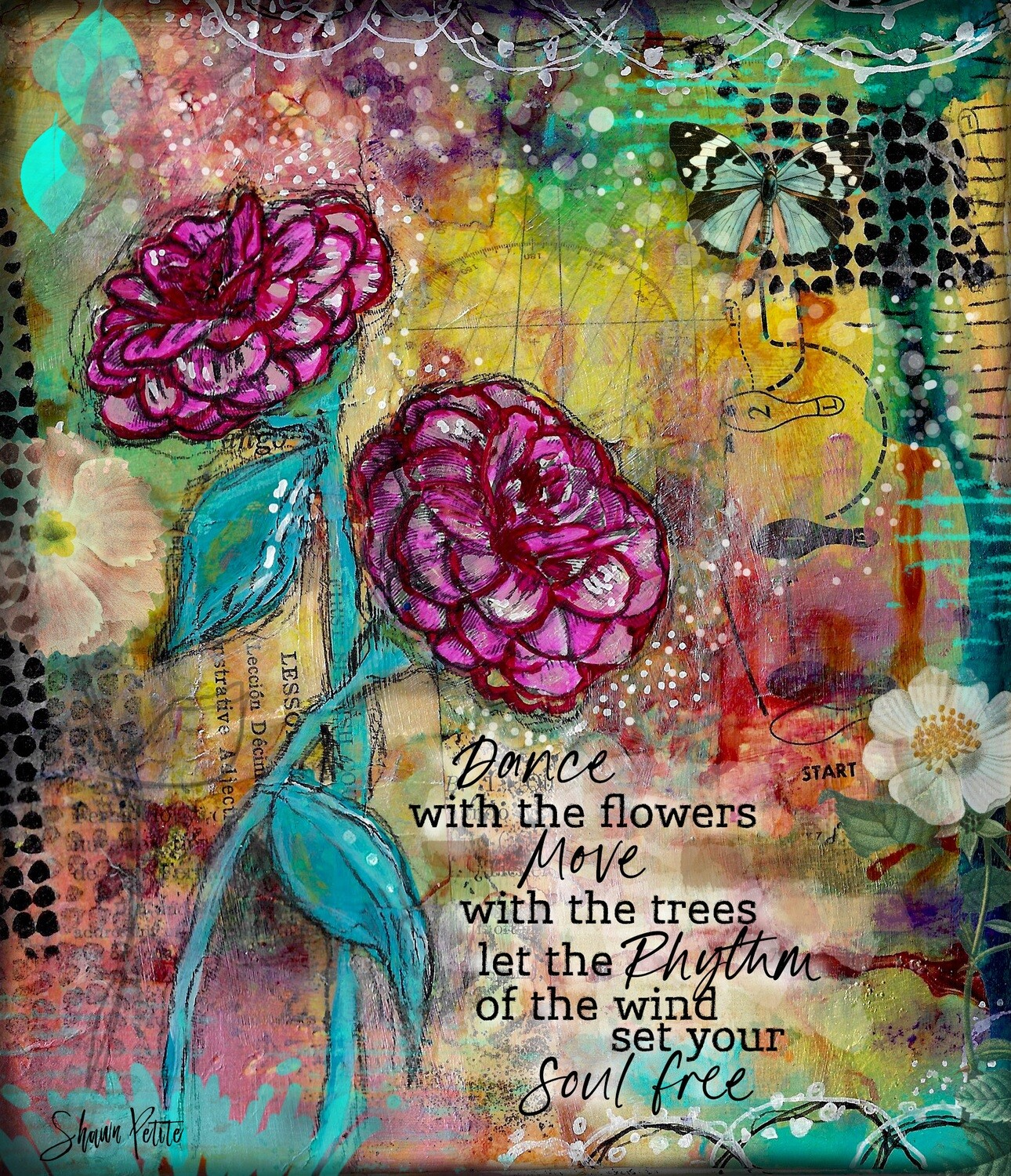 Dance with the Flowers, Print on Wood and Print to be Framed