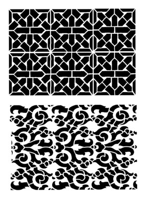 Vintage patterns duo 2 stencil 8x10