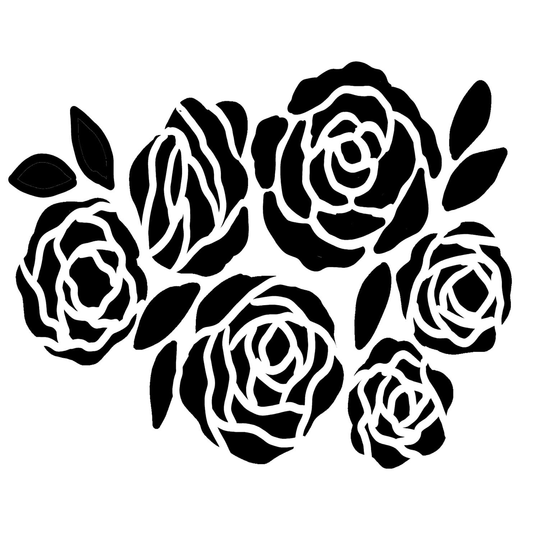 Bunch of Flowers 2 stencil 6x6
