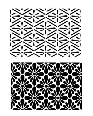 Vintage patterns duo 1 stencil 8x10
