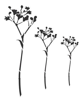 Little flowers Statice stencil 8x10