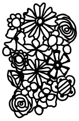 Playful flowers with mask stencil 8x10