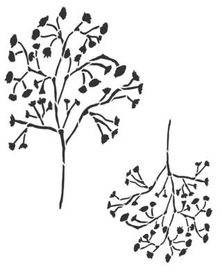Little flowers quaking grass stencil 8x10