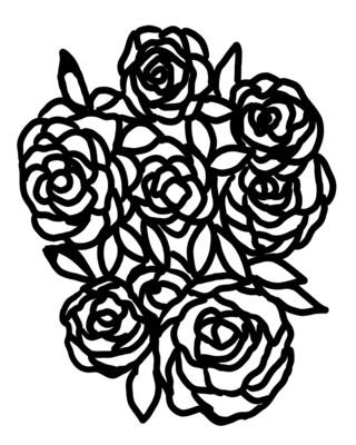 Bunch of Flowers 1 w/mask stencil 8x10