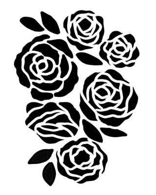 Bunch of Flowers 2 stencil 8x10