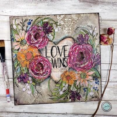 Love Wins 12x12 mixed media original