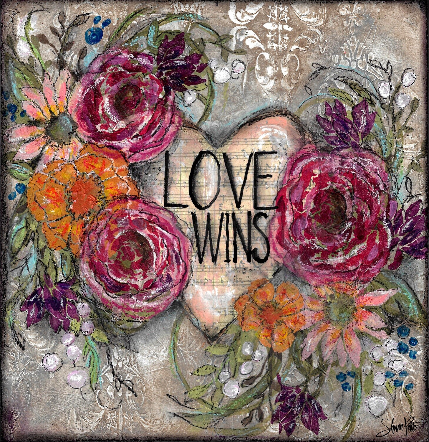 Love Wins, heart, and flowers digital instant download