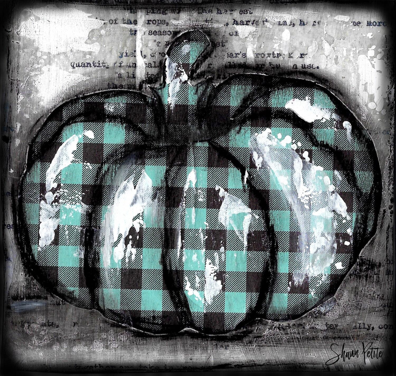 """Pumpkin"" teal plaid round Print on Wood 4x4 Overstock"