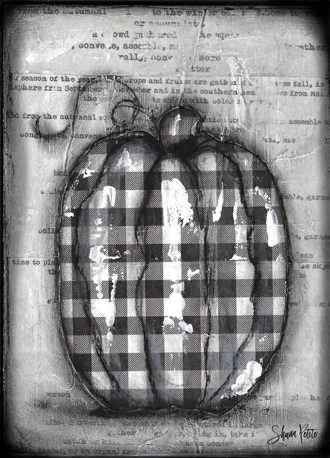 """""""Pumpkin"""" black and white plaid tall Print on Wood 4x6 Overstock"""
