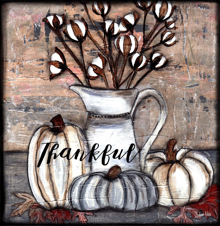 """Thankful pumpkins"" Print on Wood 4x4 Overstock"