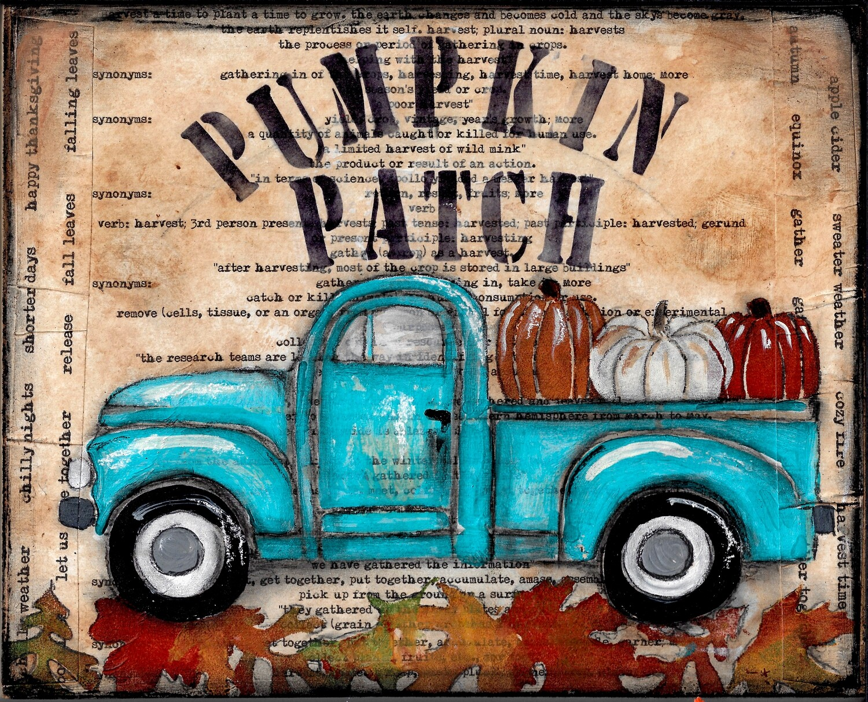 """Pumpkin Patch"" truck mixed media 10x8 Original"