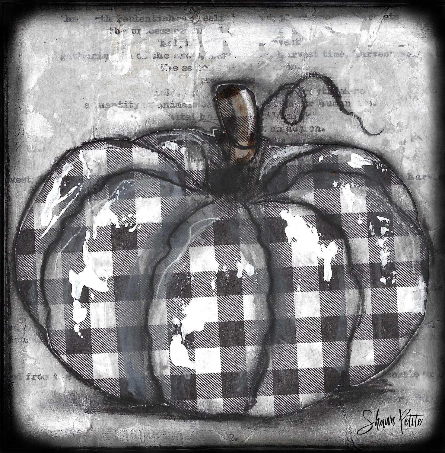"""Pumpkin"" black and white plaid round Print on Wood 8x8 Overstock"