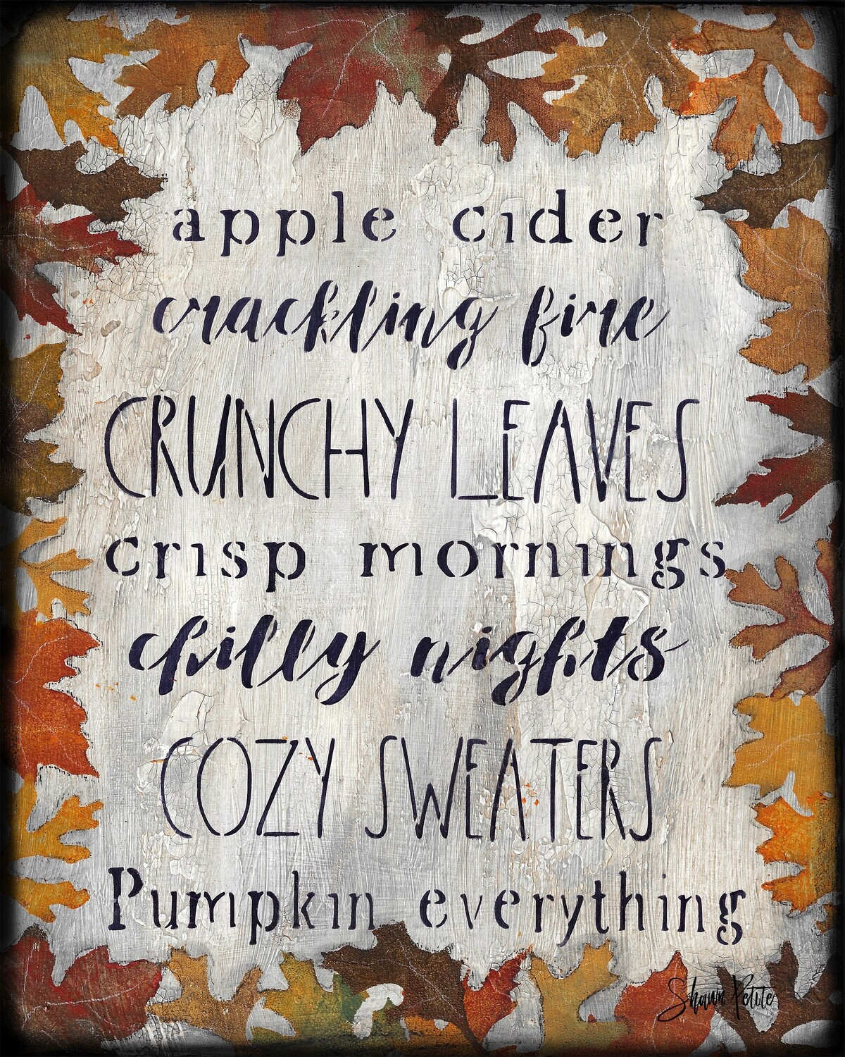 """""""Fall Leaves and Words"""" Print on Wood 5x7 Overstock"""