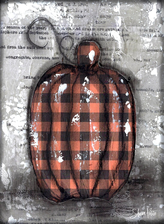 """""""Pumpkin"""" orange plaid tall Print on Wood 4x6 Overstock"""